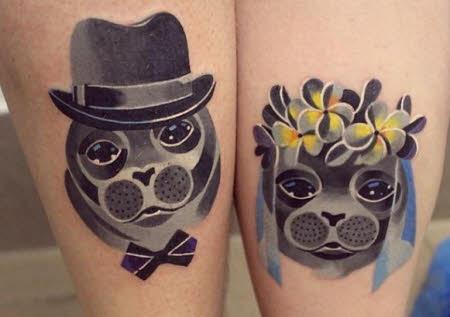 tatuajes pareja perros enamorados